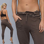 Одежда handmade. Livemaster - original item Gray-brown stretch Yoga pants made of organic cotton with pockets. Handmade.