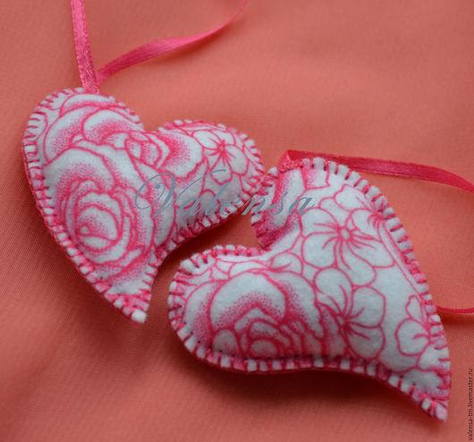 Подарки для влюбленных ручной работы. Ярмарка Мастеров - ручная работа. Купить Сердечки из фетра розовое. Handmade. Розовый, фетр, сувенир