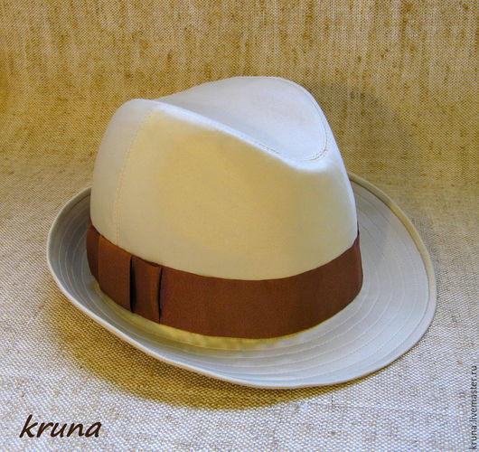Шляпы ручной работы. Ярмарка Мастеров - ручная работа. Купить Шляпа мужская из натурального шелка.. Handmade. Белый, шляпа из шелка