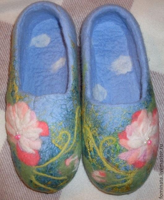 """Обувь ручной работы. Ярмарка Мастеров - ручная работа. Купить валяные тапочки """"Китайский пион"""". Handmade. Пионы, тапочки женские"""