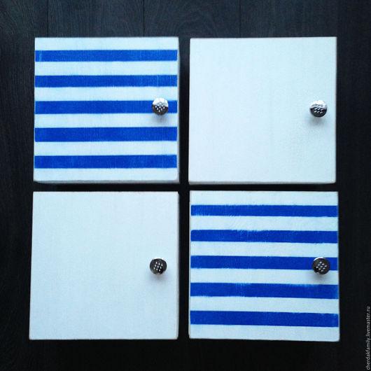 """Мебель ручной работы. Ярмарка Мастеров - ручная работа. Купить Деревянные полки """"Морские"""". Handmade. Синий, морской стиль, белый"""