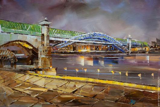 Город ручной работы. Ярмарка Мастеров - ручная работа. Купить Огни Москвы. Андреевский мост N2. Handmade. Комбинированный