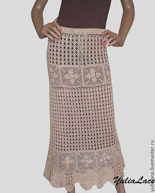 Юбки ручной работы. Ярмарка Мастеров - ручная работа. Купить Вязаная юбка. Handmade. Бежевый, длинная юбка, вязание на заказ