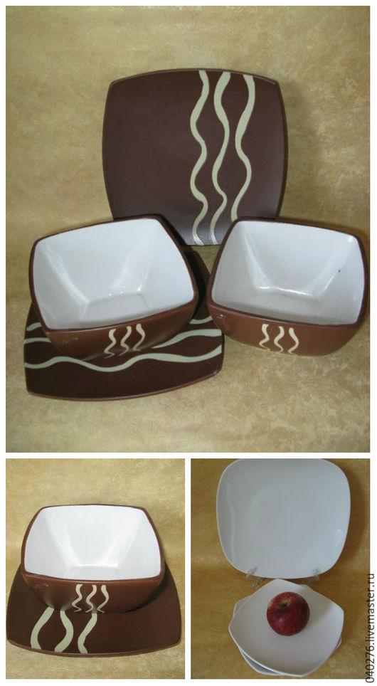 Стильные наборы тарелок из керамики, фарфора для сервировки стола.