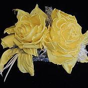 Украшения ручной работы. Ярмарка Мастеров - ручная работа Желтые розы из шелка. Брошь розы шелковые.. Handmade.