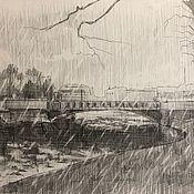 Картины и панно handmade. Livemaster - original item An ordinary day in St. Petersburg paper, graphite pencil. Handmade.