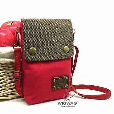 Сумки и аксессуары ручной работы. Ярмарка Мастеров - ручная работа Небольшая сумка красного цвета, оксфорд + канвас + кожа. Handmade.