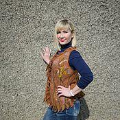 Одежда ручной работы. Ярмарка Мастеров - ручная работа Жилет валяный шерстяной женский Cafe macchiato коричневый теплый жилет. Handmade.