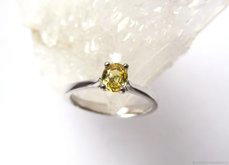 Желтый сапфир кольцо серебро 925 с натуральным сапфиром, Кольца, Новосибирск,  Фото №1