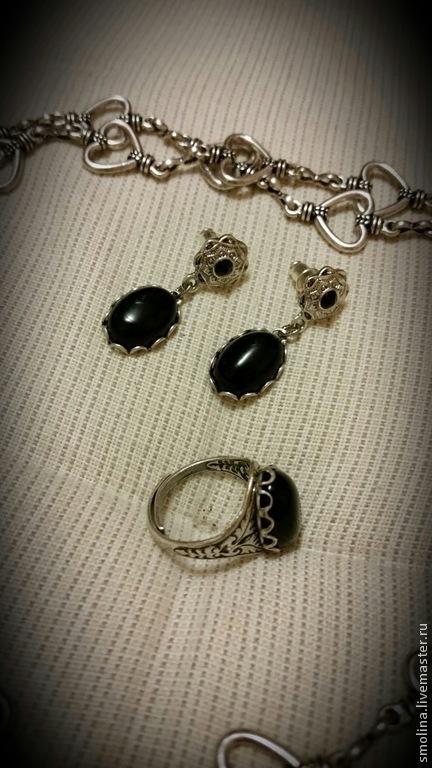 """Комплекты украшений ручной работы. Ярмарка Мастеров - ручная работа. Купить Серьги, кольцо и кулон """"Noire"""" с черным агатом. Handmade."""