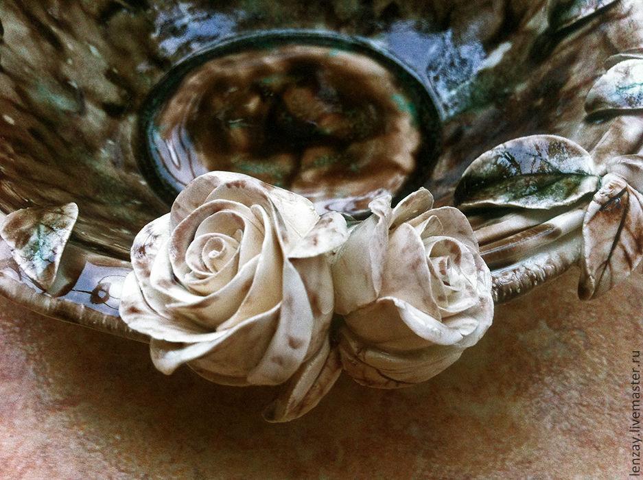 Пиала `Черный кофе, белый шоколад`. Керамические цветы Елены Зайченко