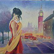 """Картины и панно ручной работы. Ярмарка Мастеров - ручная работа """"Девушка в ночном городе"""" вольная копия раб. Mark Span. Handmade."""