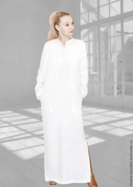 Платье в пол Льняное платье летнее Белое платье рубашка Дизайнерское платье хлопок Макси платье на заказ Модное платье Платье с воротником длинные рукава Платье на пуговицах Стильное платье из льна