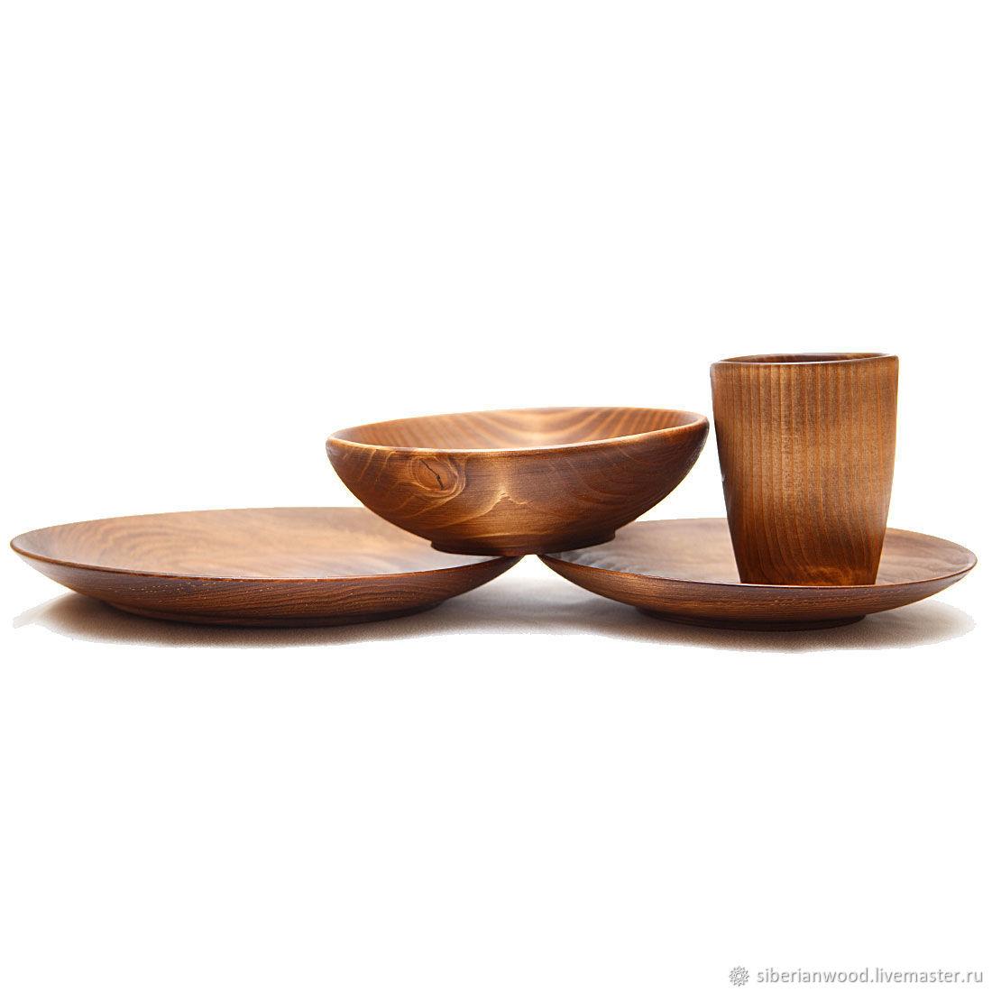 Set of Wooden Plates Glass made of Siberian Fir (4#33 ...  sc 1 st  Livemaster & Set of Wooden Plates Glass made of Siberian Fir (4#33 u2013 shop online ...