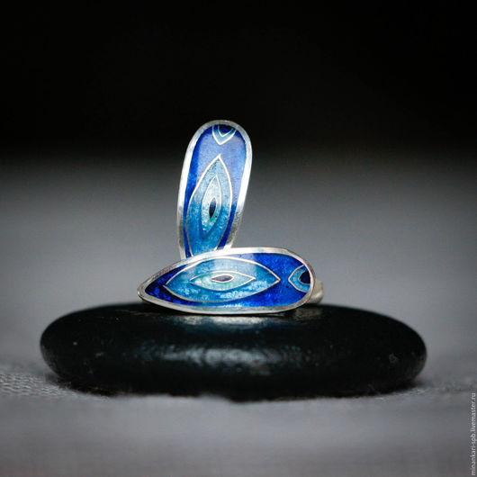 """Серьги ручной работы. Ярмарка Мастеров - ручная работа. Купить Серьги """"Вдохновение"""" серебряные с эмалью. Минанкари. Handmade. Тёмно-синий"""