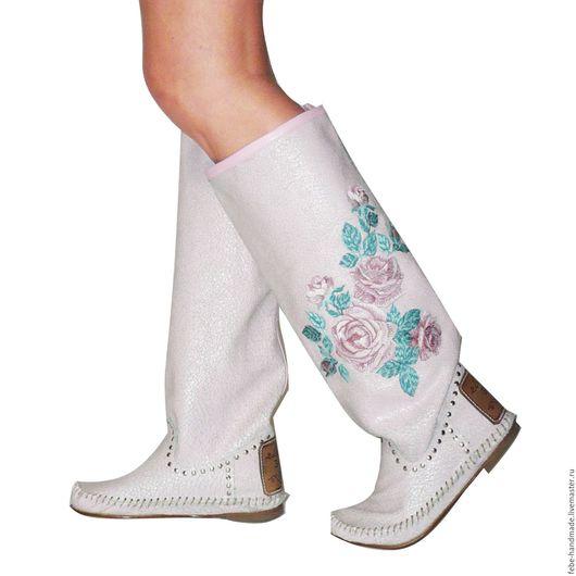 Обувь ручной работы. Ярмарка Мастеров - ручная работа. Купить Кожанные сапоги ROSA VINTAG  /39-40 в наличие. Handmade.