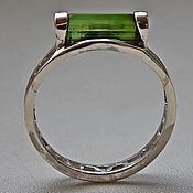"Украшения handmade. Livemaster - original item Ring with green tourmaline in silver ""green light beam. Handmade."