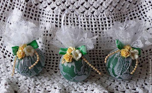 Новый год 2017 ручной работы. Ярмарка Мастеров - ручная работа. Купить Новогодний набор винтажных шариков. Handmade. Зеленый