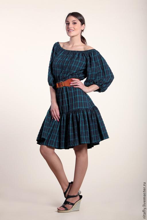 платье с открытыми плечами платье миди летнее платье по колено платье с пышными рукавами платье до колен платье хлопок платье с воланом платье из сжатого хлопка повседневное платье платье на каждый день офисное платье платье кантри платье в клетку платье в клеточку платье авторское