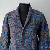 Одежда handmade. Livemaster - original item Cardigan Blue large, interlock. Handmade.