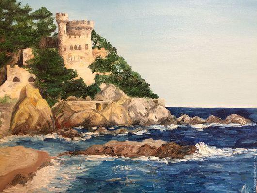 Пейзаж ручной работы. Ярмарка Мастеров - ручная работа. Купить Замок на пляже. Испания 2014. Handmade. Синий, подарок, пейзаж