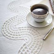 Для дома и интерьера ручной работы. Ярмарка Мастеров - ручная работа Белая льняная скатерть овальная ручная работа. Handmade.