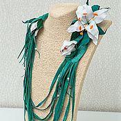 Украшения handmade. Livemaster - original item Necklace leather Lily. Decoration on the neck of the skin with flowers.. Handmade.