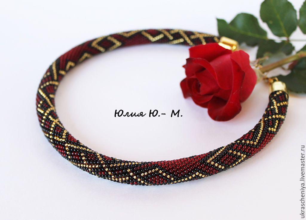 Necklace 'Burgundy sunset', harness beaded, Necklace, Ryazan,  Фото №1