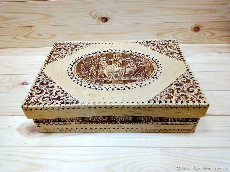 Box of birch bark 'Grouse' A4. Documentsize wooden, Box, Tomsk,  Фото №1