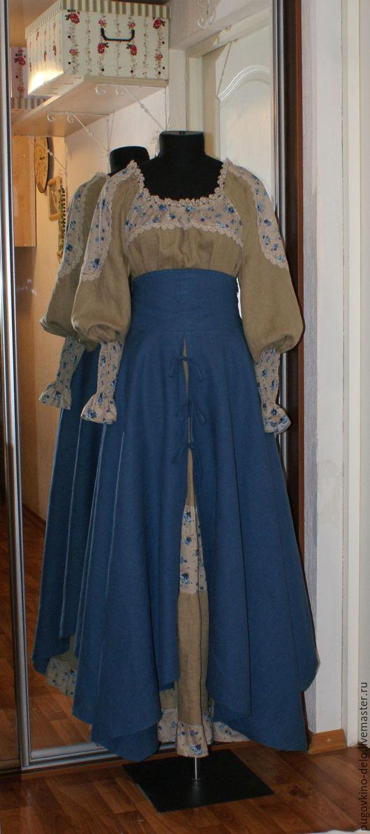 Юбки ручной работы. Ярмарка Мастеров - ручная работа. Купить Верхняя льняная юбка на завязках с поясом корсетом. Handmade. Синий