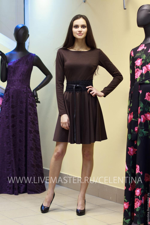 1ca3fa3bb81c ... осеннее платье, коричневое платье, тепло платье из трикотажа, платье  для работы и офиса ...