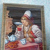 Картины и панно ручной работы. Ярмарка Мастеров - ручная работа Картина из бисера За чаем. Handmade.