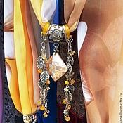 Аксессуары ручной работы. Ярмарка Мастеров - ручная работа шарф колье с перламутровой подвеской и цитринами. Handmade.