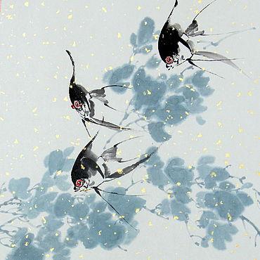 Картины и панно ручной работы. Ярмарка Мастеров - ручная работа Акварель Скалярии(китайская живопись рыбки голубой картина вода. Handmade.