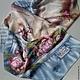 Шелковый шарф с росписью `Пионы. Винтаж`,авторская работа Ольга Aerosilk.