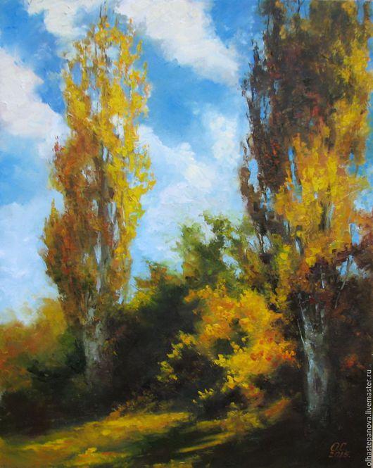 """Пейзаж ручной работы. Ярмарка Мастеров - ручная работа. Купить Картина """"Осень.Тополя"""", холст, масло.. Handmade. Оранжевый, коричневый"""
