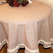 Для дома и интерьера ручной работы. Ярмарка Мастеров - ручная работа Льняная скатерть в горошек Капучино  150 см. Handmade.