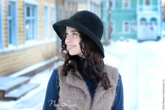 Шляпы ручной работы. Ярмарка Мастеров - ручная работа. Купить Вязаная шляпка «Lady». Handmade. Черный, леди, классика, красивая