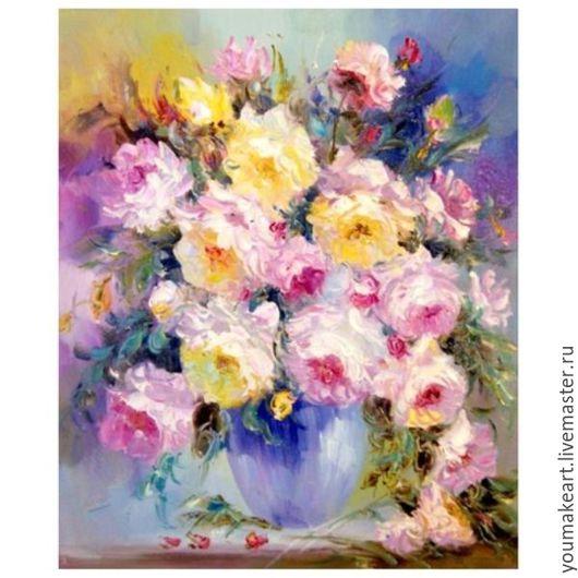 """Картины цветов ручной работы. Ярмарка Мастеров - ручная работа. Купить Картина по номерам """"Нежнейшие цветы"""". Handmade. Комбинированный"""