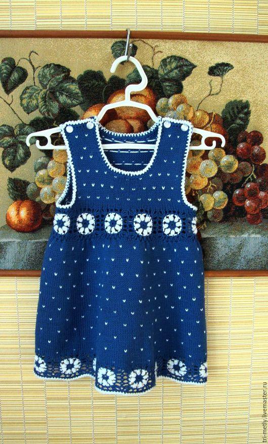 """Одежда для девочек, ручной работы. Ярмарка Мастеров - ручная работа. Купить Вязаный сарафан для девочки """"Синий в крапинку"""". Handmade. Синий"""
