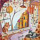 Животные ручной работы. Ярмарка Мастеров - ручная работа. Купить Панно Два кота. Handmade. Панно, роспись по шелку, Батик