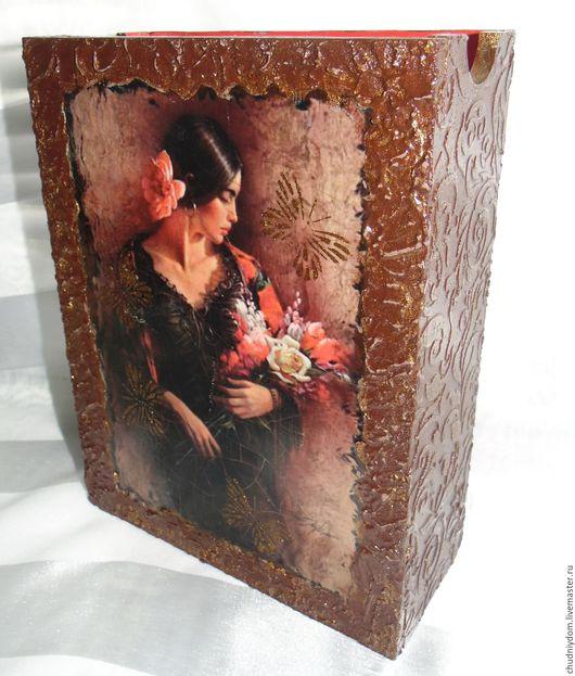 """Папки для бумаг ручной работы. Ярмарка Мастеров - ручная работа. Купить Деревянная сумка/подставка для бумаг """"Наследие инков"""". Handmade. Коричневый"""