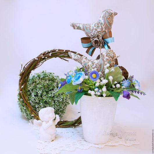 """Персональные подарки ручной работы. Ярмарка Мастеров - ручная работа. Купить Птички """"Кофейные"""". Handmade. Голубой, птички, нежный, для кухни"""