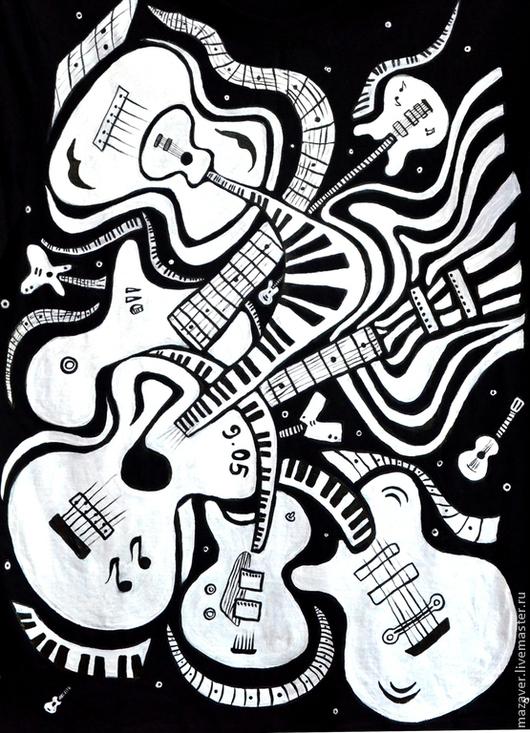 """Футболки, майки ручной работы. Ярмарка Мастеров - ручная работа. Купить Футболка """"Сахарные гитары"""". Handmade. Чёрно-белый, гитара"""