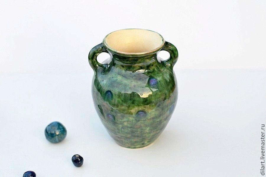 Керамическая  ваза для цветов Изумрудный Павлин