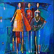 Картины и панно handmade. Livemaster - original item Modern art painting on a blue girlfriend on a skateboard. Handmade.