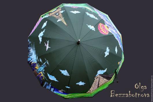 `Зонт-путешественник`. Авторская роспись зонта акриловыми красками.