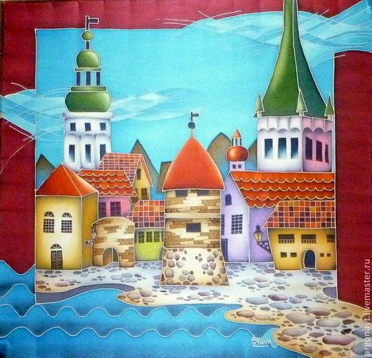 """Шали, палантины ручной работы. Ярмарка Мастеров - ручная работа. Купить Шейный платочек-батик  """"Vana Tallinn 1 """". Handmade."""
