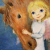 Сувениры и подарки handmade. Livemaster - original item Angel with horse Reproduction picture Print. Handmade.