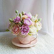 """Цветы и флористика ручной работы. Ярмарка Мастеров - ручная работа Букет """"Букет в розовой чашечке"""". Handmade."""